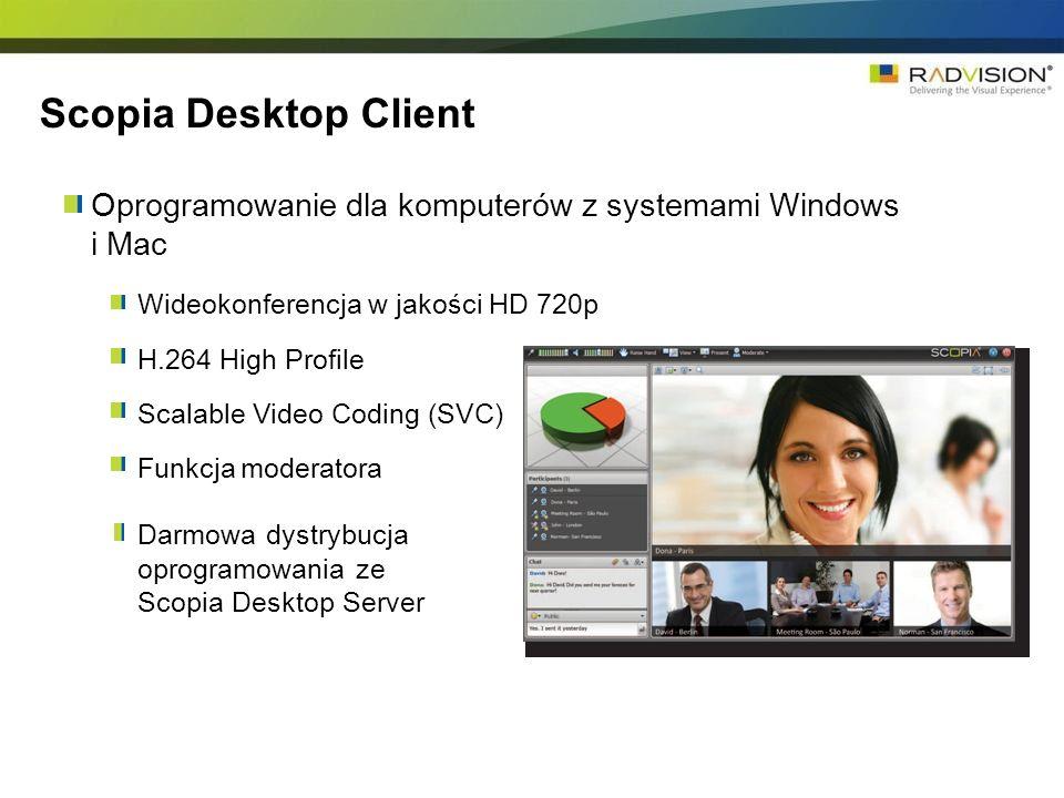 Scopia Desktop Client Oprogramowanie dla komputerów z systemami Windows i Mac. Wideokonferencja w jakości HD 720p.