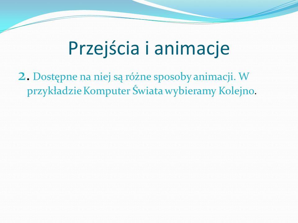 Przejścia i animacje 2. Dostępne na niej są różne sposoby animacji.