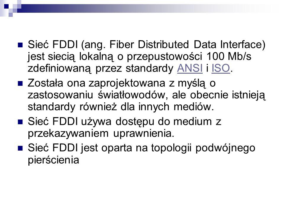 Sieć FDDI (ang. Fiber Distributed Data Interface) jest siecią lokalną o przepustowości 100 Mb/s zdefiniowaną przez standardy ANSI i ISO.