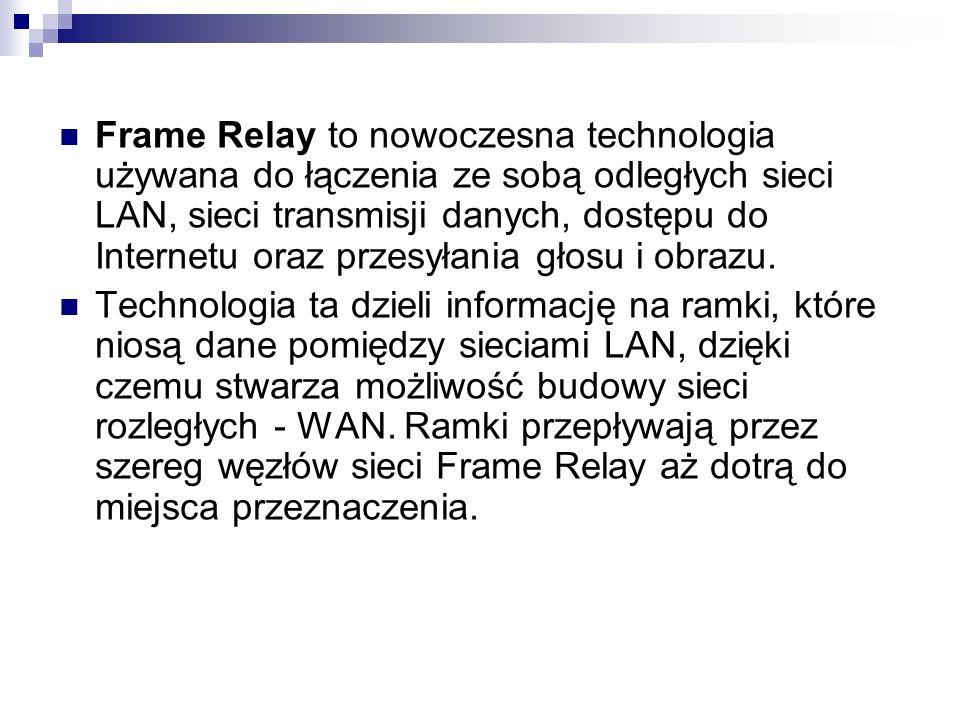 Frame Relay to nowoczesna technologia używana do łączenia ze sobą odległych sieci LAN, sieci transmisji danych, dostępu do Internetu oraz przesyłania głosu i obrazu.