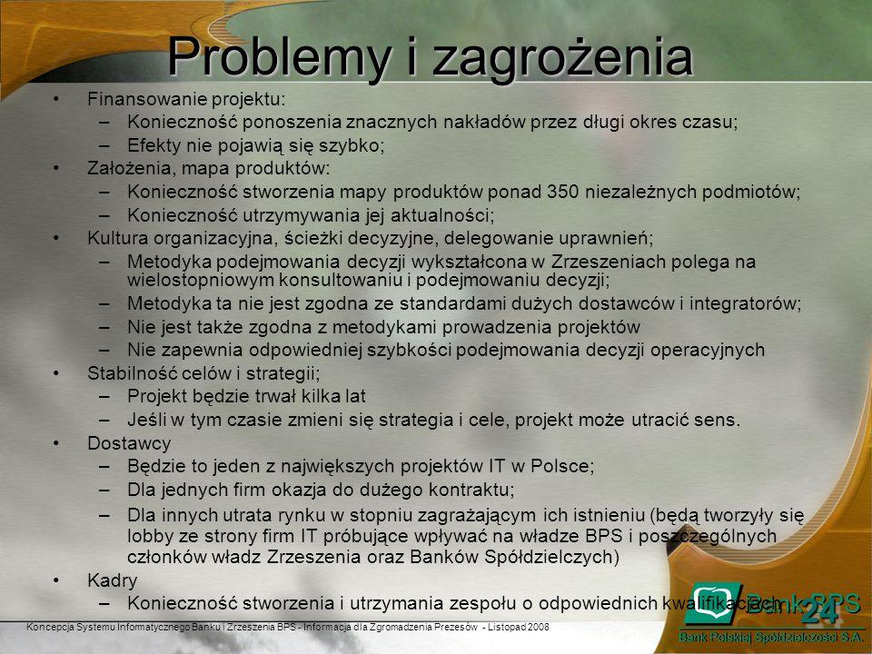 Problemy i zagrożenia 24 Finansowanie projektu: