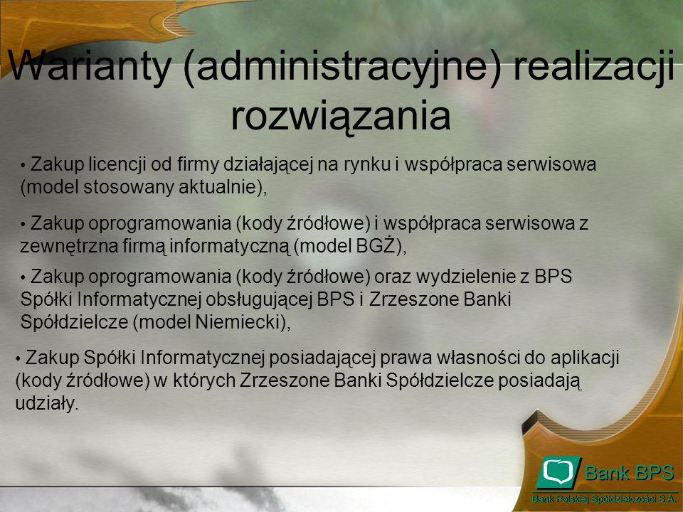 Warianty (administracyjne) realizacji rozwiązania