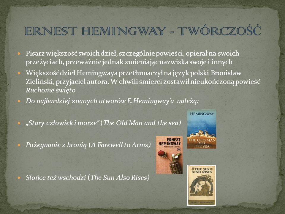 ERNEST HEMINGWAY - TWÓRCZOŚĆ
