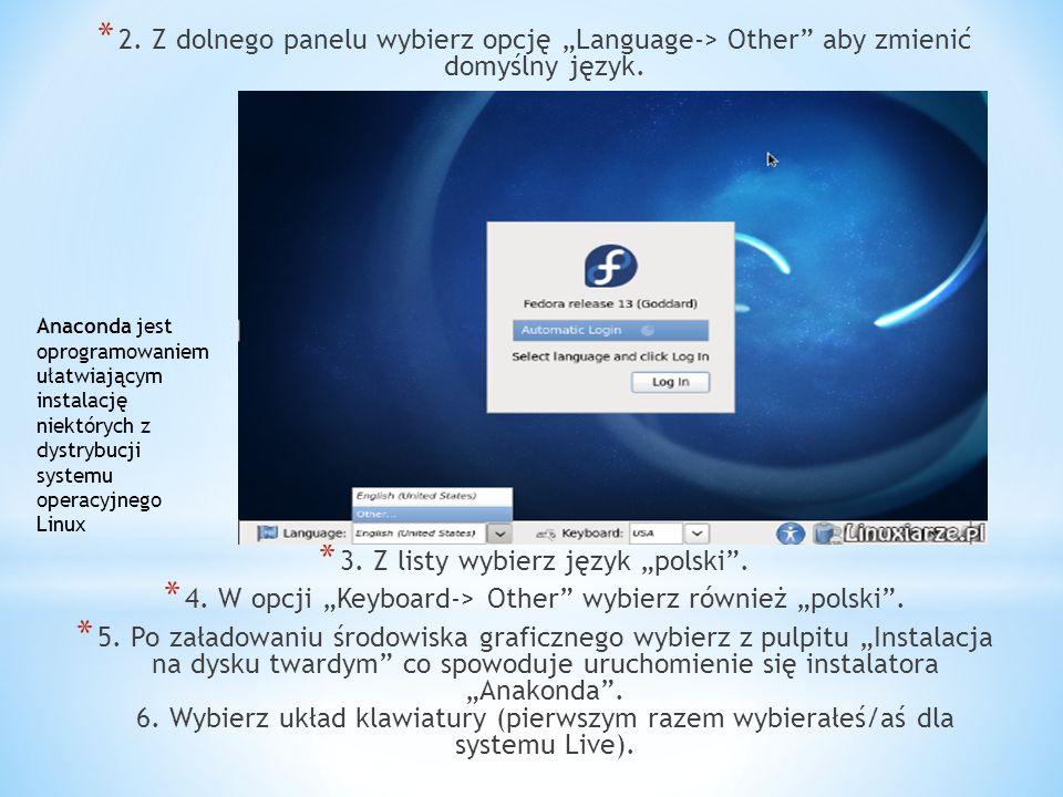 """3. Z listy wybierz język """"polski ."""