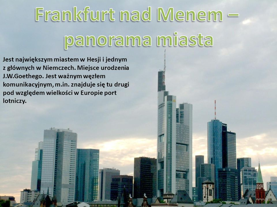 Frankfurt nad Menem – panorama miasta