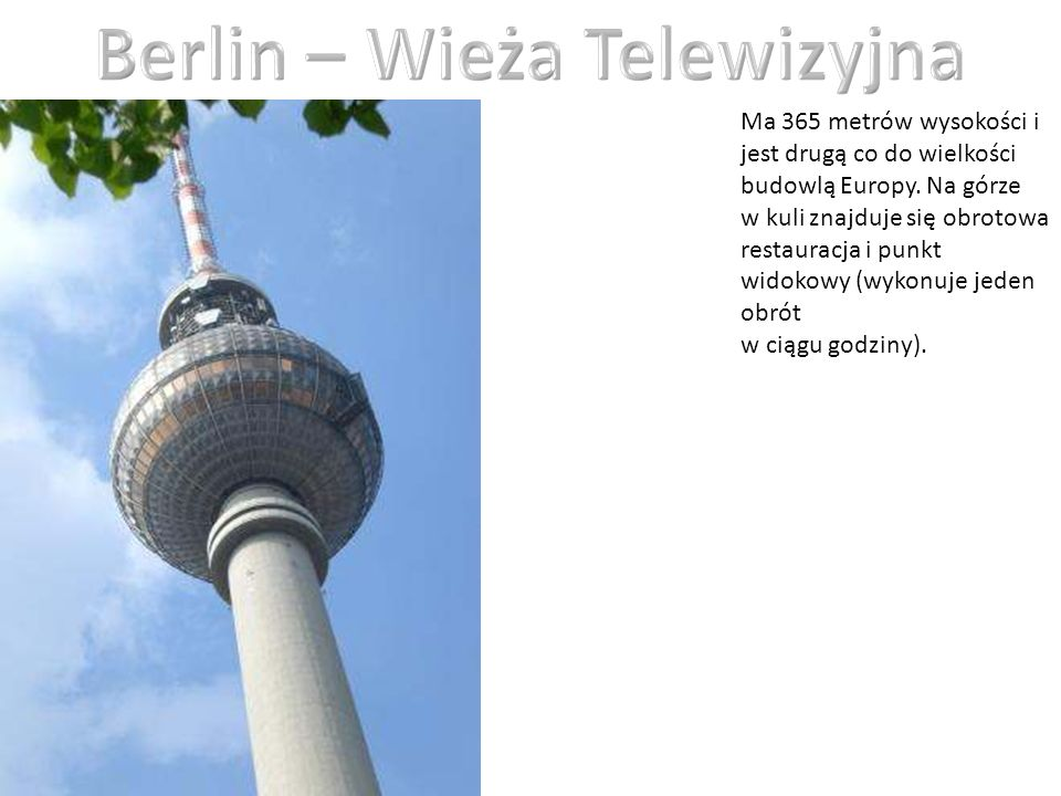 Berlin – Wieża Telewizyjna