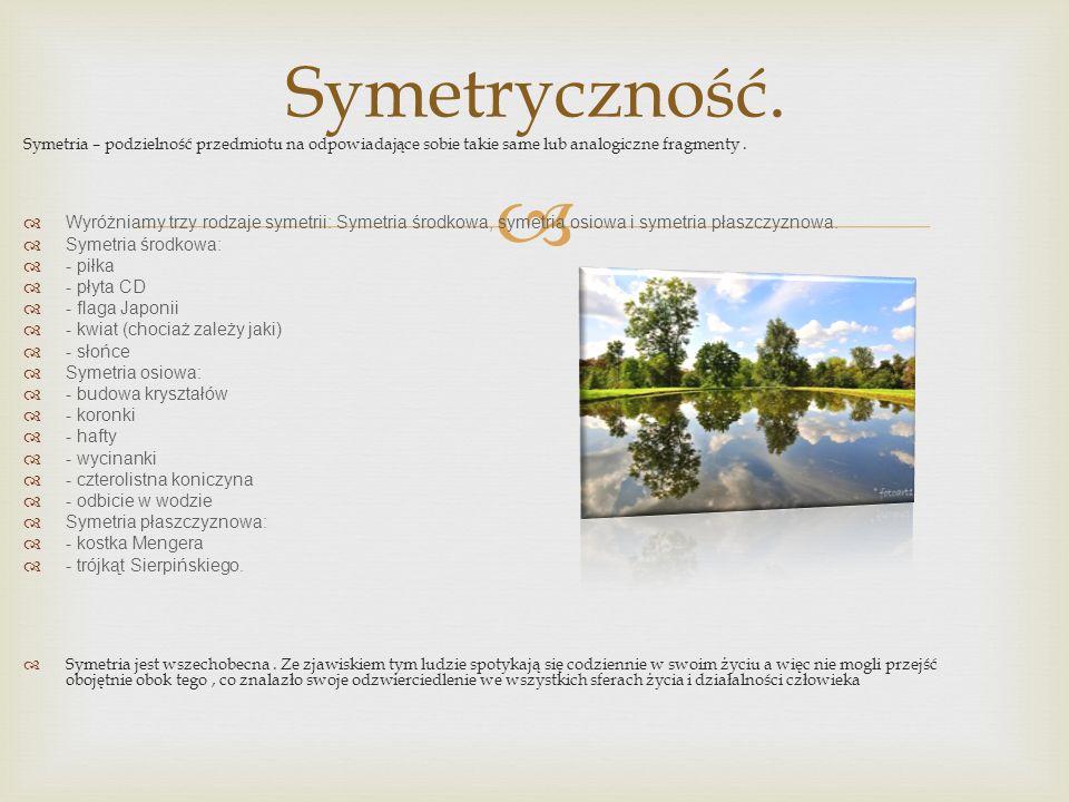 Symetryczność. Symetria – podzielność przedmiotu na odpowiadające sobie takie same lub analogiczne fragmenty .