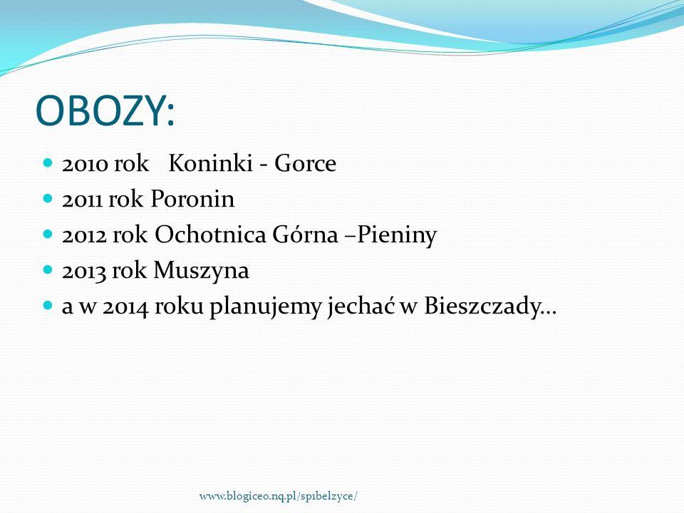 OBOZY: 2010 rok Koninki - Gorce 2011 rok Poronin