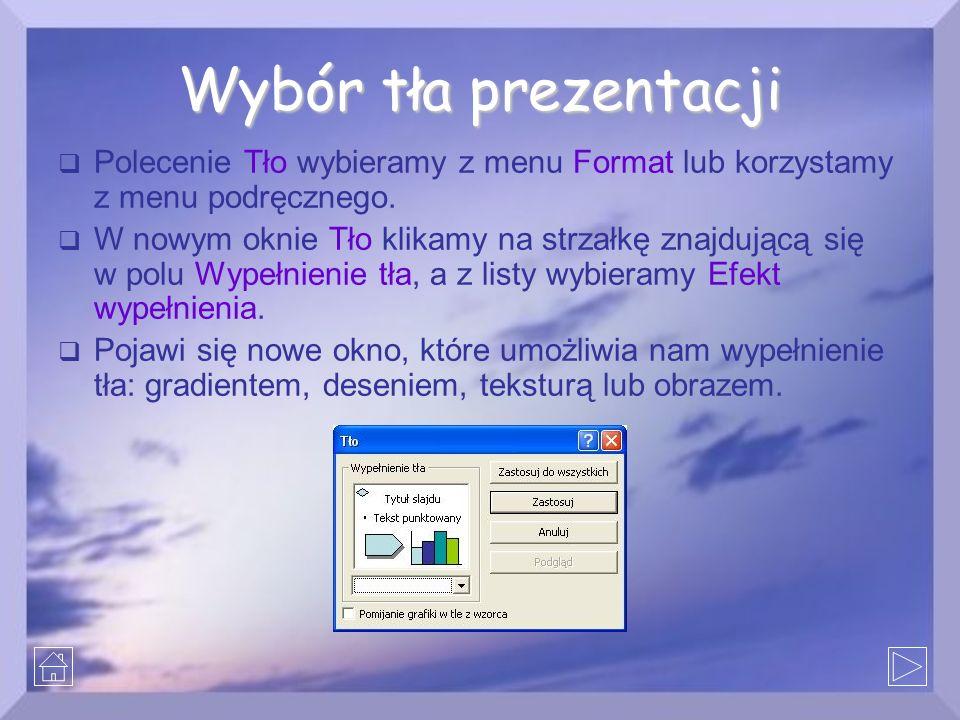 Wybór tła prezentacji Polecenie Tło wybieramy z menu Format lub korzystamy z menu podręcznego.
