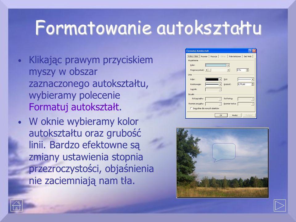 Formatowanie autokształtu