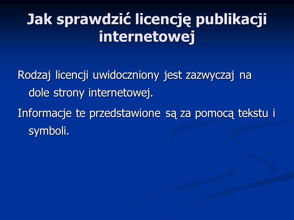 Jak sprawdzić licencję publikacji internetowej
