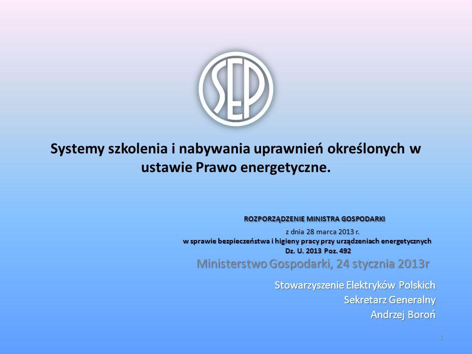 Stowarzyszenie Elektryków Polskich Sekretarz Generalny Andrzej Boroń