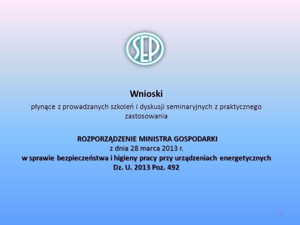 Wnioski płynące z prowadzanych szkoleń i dyskusji seminaryjnych z praktycznego zastosowania.