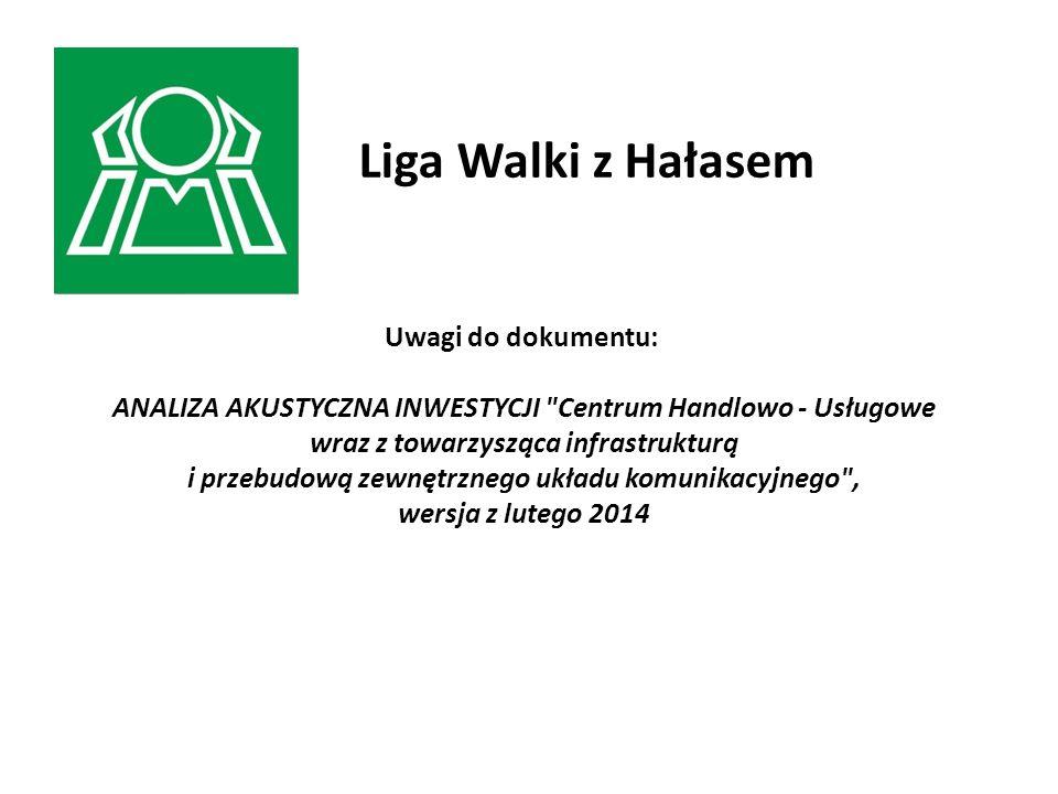 Liga Walki z Hałasem Uwagi do dokumentu: