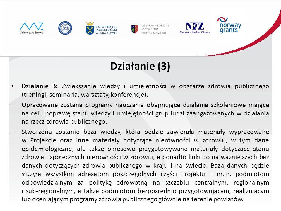 Działanie (3) Działanie 3: Zwiększanie wiedzy i umiejętności w obszarze zdrowia publicznego (treningi, seminaria, warsztaty, konferencje).