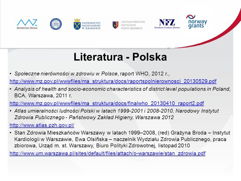 Literatura - Polska Społeczne nierówności w zdrowiu w Polsce, raport WHO, 2012 r.,