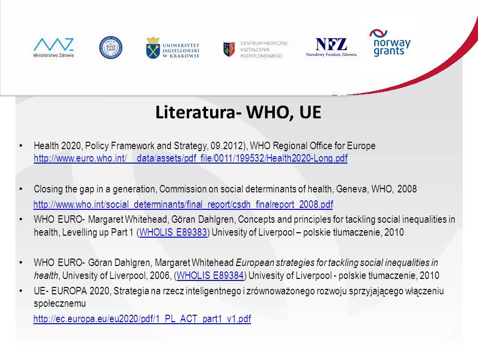 Literatura- WHO, UE
