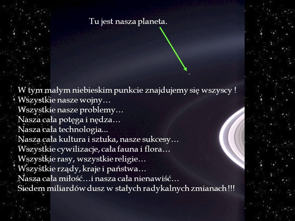 Tu jest nasza planeta. W tym małym niebieskim punkcie znajdujemy się wszyscy ! Wszystkie nasze wojny…