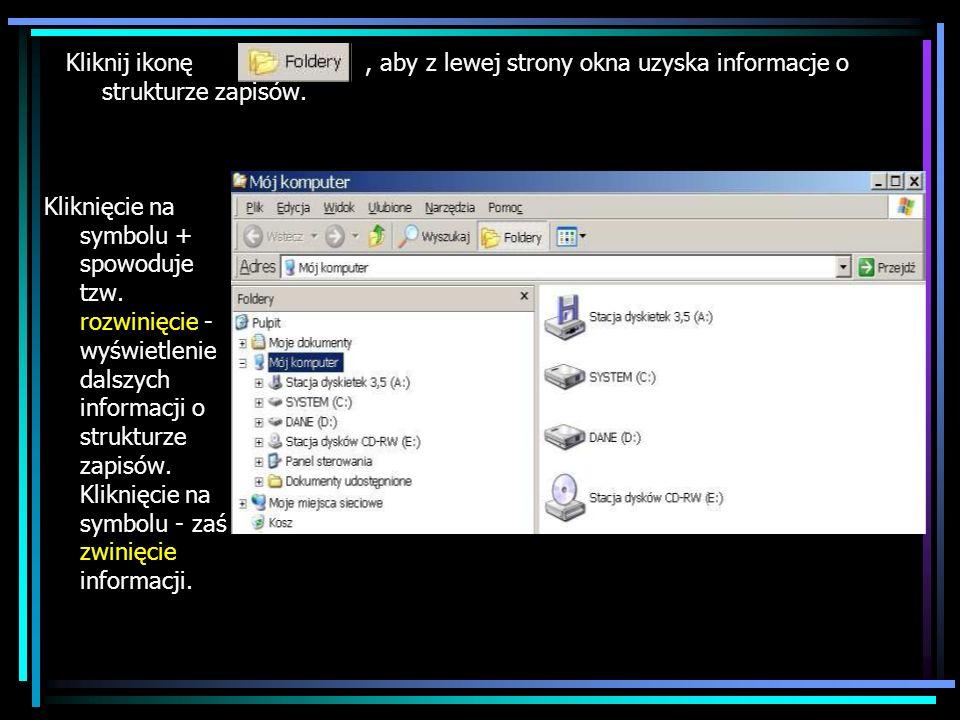 Kliknij ikonę , aby z lewej strony okna uzyska informacje o strukturze zapisów.