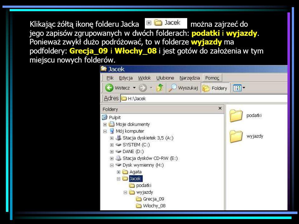 Klikając żółtą ikonę folderu Jacka można zajrzeć do jego zapisów zgrupowanych w dwóch folderach: podatki i wyjazdy.