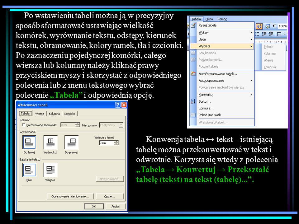 """Po wstawieniu tabeli można ją w precyzyjny sposób sformatować ustawiając wielkość komórek, wyrównanie tekstu, odstępy, kierunek tekstu, obramowanie, kolory ramek, tła i czcionki. Po zaznaczeniu pojedynczej komórki, całego wiersza lub kolumny należy kliknąć prawy przyciskiem myszy i skorzystać z odpowiedniego polecenia lub z menu tekstowego wybrać polecenie """"Tabela i odpowiednią opcję."""