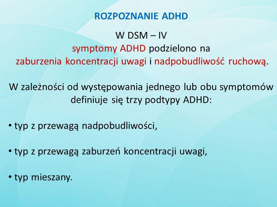 symptomy ADHD podzielono na