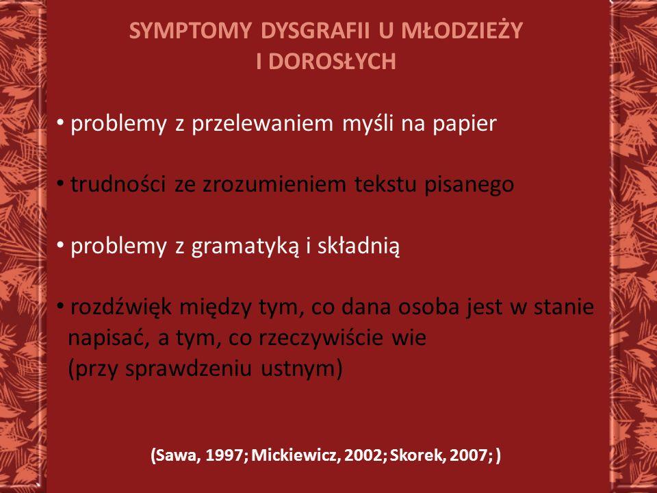 SYMPTOMY DYSGRAFII U MŁODZIEŻY