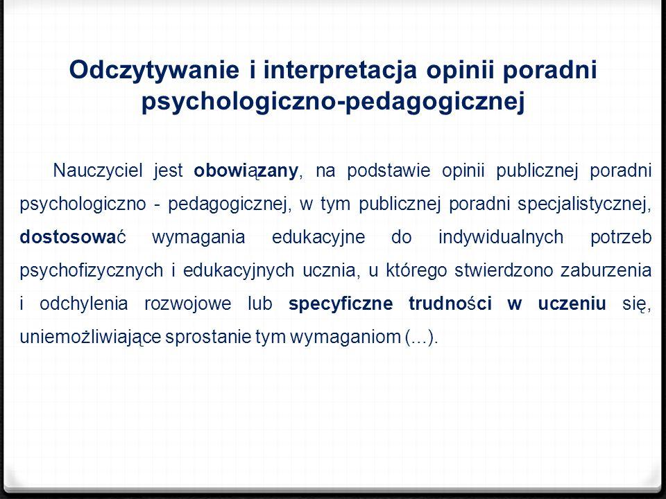 Odczytywanie i interpretacja opinii poradni psychologiczno-pedagogicznej