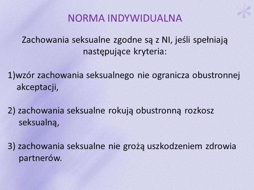 NORMA INDYWIDUALNA Zachowania seksualne zgodne są z NI, jeśli spełniają następujące kryteria: