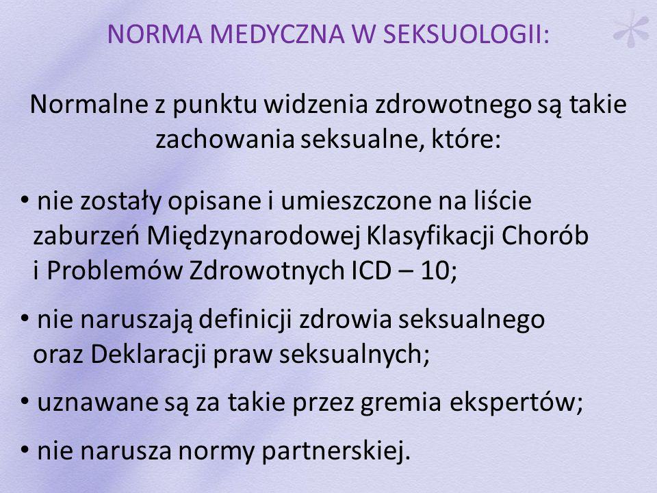 NORMA MEDYCZNA W SEKSUOLOGII: