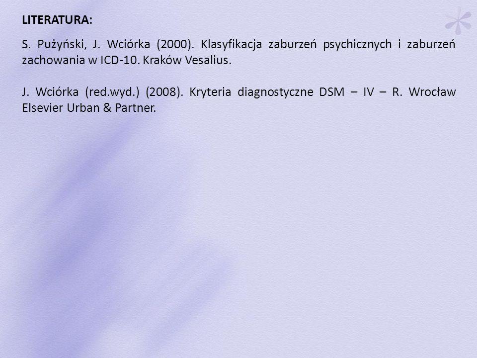 LITERATURA: S. Pużyński, J. Wciórka (2000). Klasyfikacja zaburzeń psychicznych i zaburzeń zachowania w ICD-10. Kraków Vesalius.