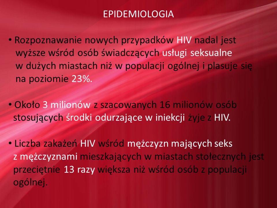 EPIDEMIOLOGIA Rozpoznawanie nowych przypadków HIV nadal jest. wyższe wśród osób świadczących usługi seksualne.
