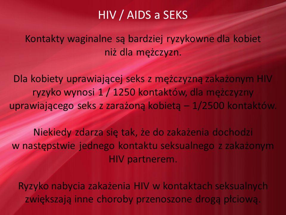 HIV / AIDS a SEKS Kontakty waginalne są bardziej ryzykowne dla kobiet