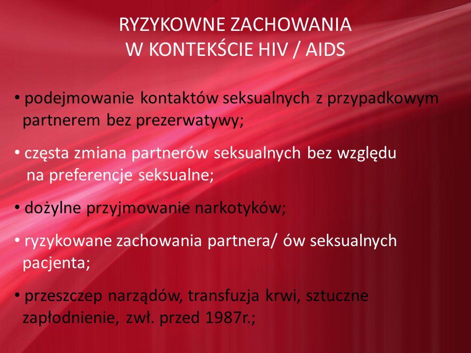 RYZYKOWNE ZACHOWANIA W KONTEKŚCIE HIV / AIDS