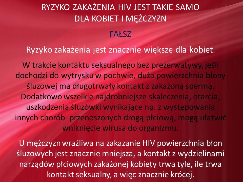 RYZYKO ZAKAŻENIA HIV JEST TAKIE SAMO DLA KOBIET I MĘŻCZYZN FAŁSZ