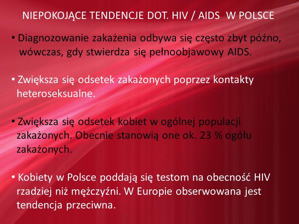 NIEPOKOJĄCE TENDENCJE DOT. HIV / AIDS W POLSCE