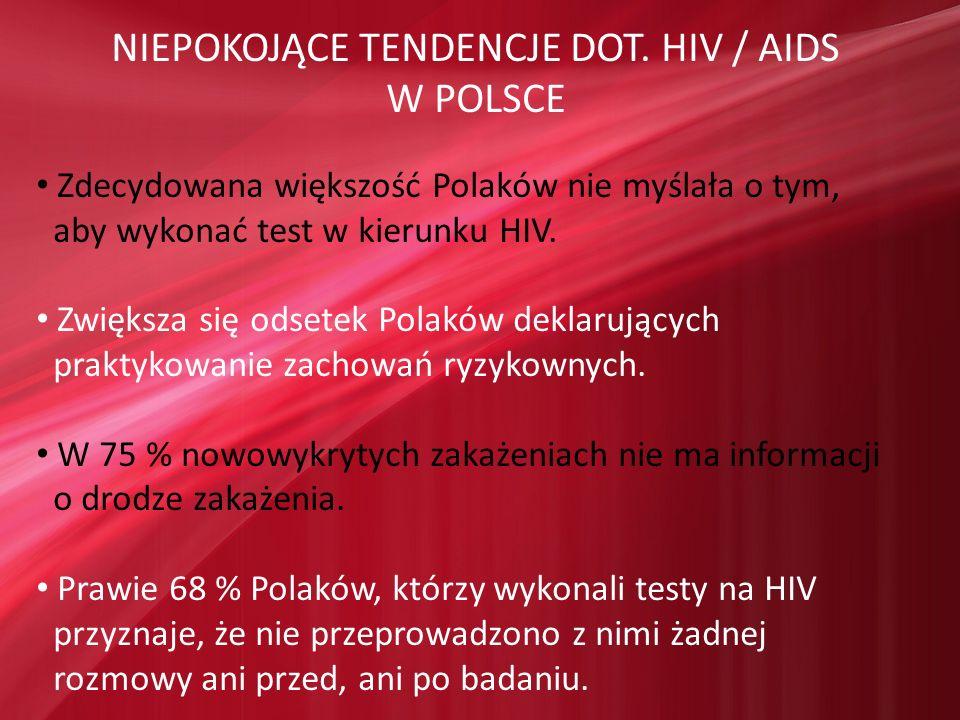 NIEPOKOJĄCE TENDENCJE DOT. HIV / AIDS