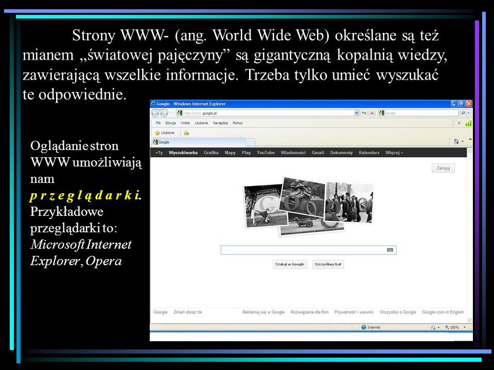 """Strony WWW- (ang. World Wide Web) określane są też mianem """"światowej pajęczyny są gigantyczną kopalnią wiedzy, zawierającą wszelkie informacje. Trzeba tylko umieć wyszukać te odpowiednie."""