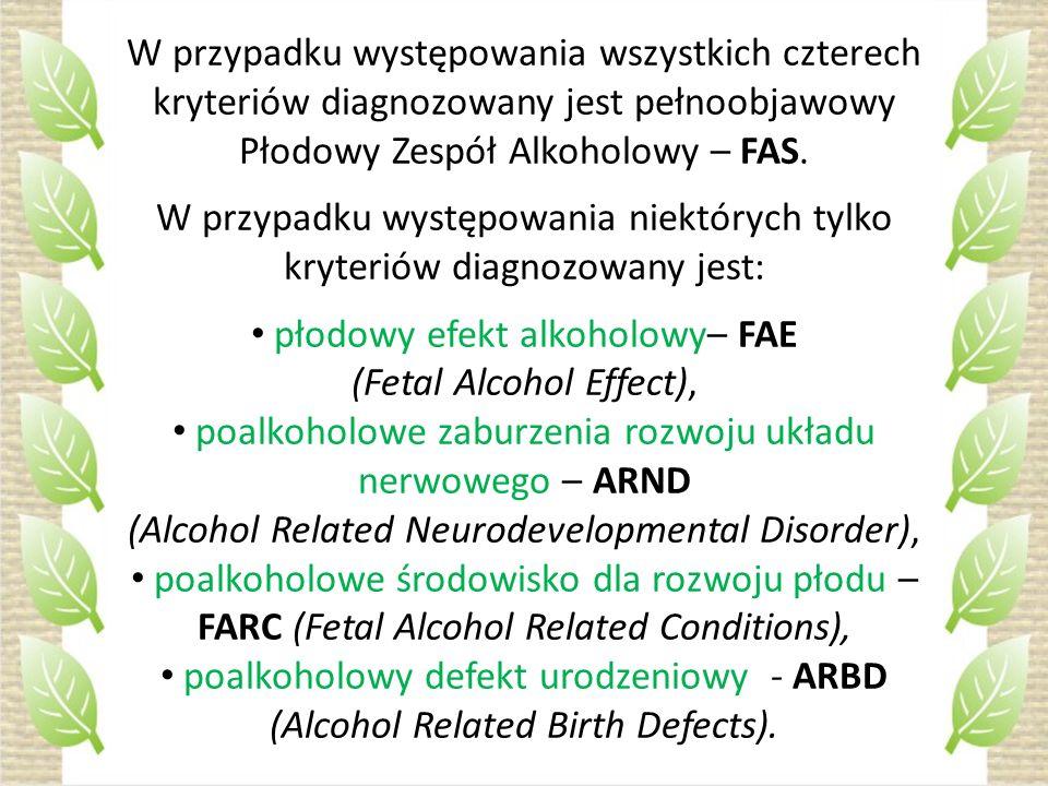 W przypadku występowania niektórych tylko kryteriów diagnozowany jest:
