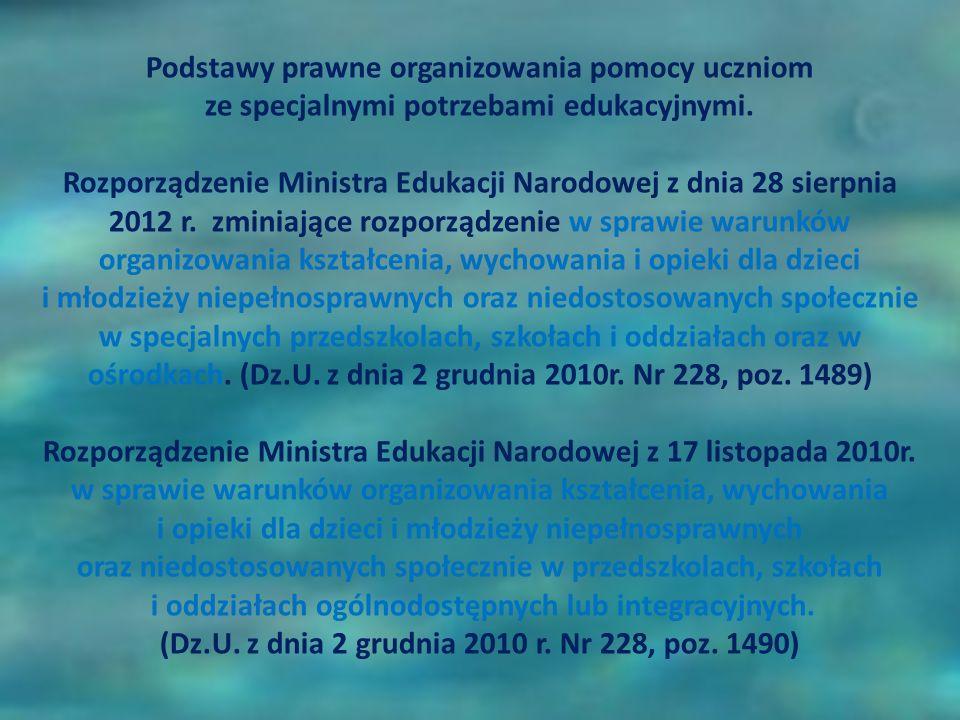 Podstawy prawne organizowania pomocy uczniom