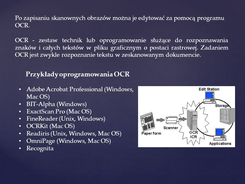 Przykłady oprogramowania OCR