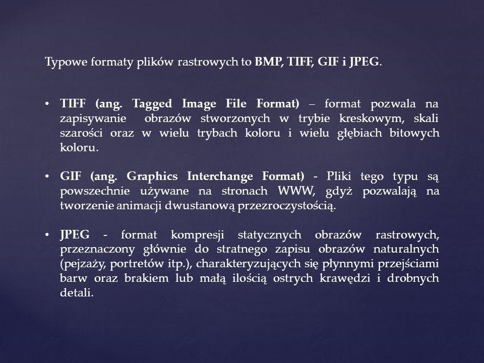 Typowe formaty plików rastrowych to BMP, TIFF, GIF i JPEG.