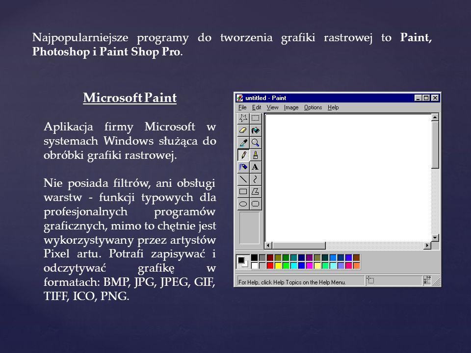 Najpopularniejsze programy do tworzenia grafiki rastrowej to Paint, Photoshop i Paint Shop Pro.