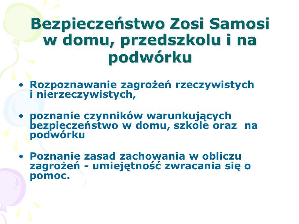 Bezpieczeństwo Zosi Samosi w domu, przedszkolu i na podwórku