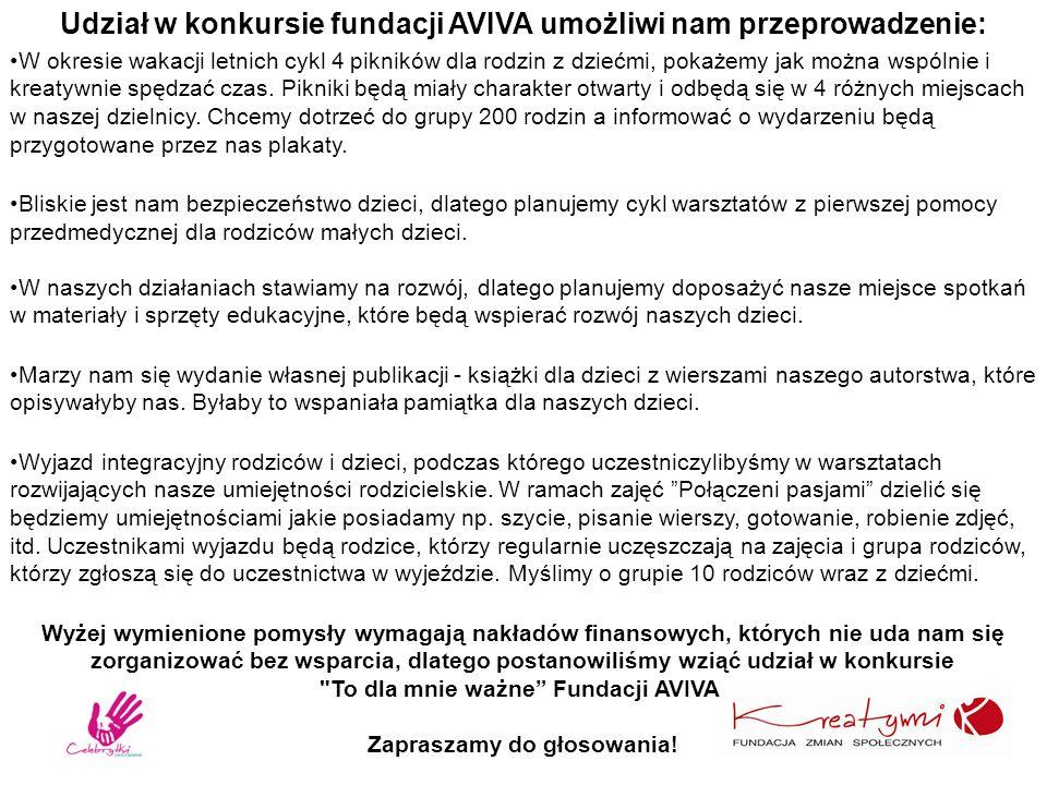 Udział w konkursie fundacji AVIVA umożliwi nam przeprowadzenie: