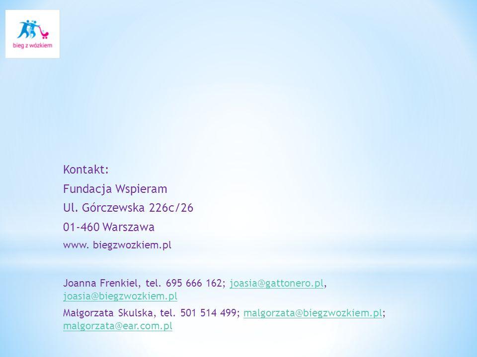 Kontakt: Fundacja Wspieram Ul. Górczewska 226c/26 01-460 Warszawa