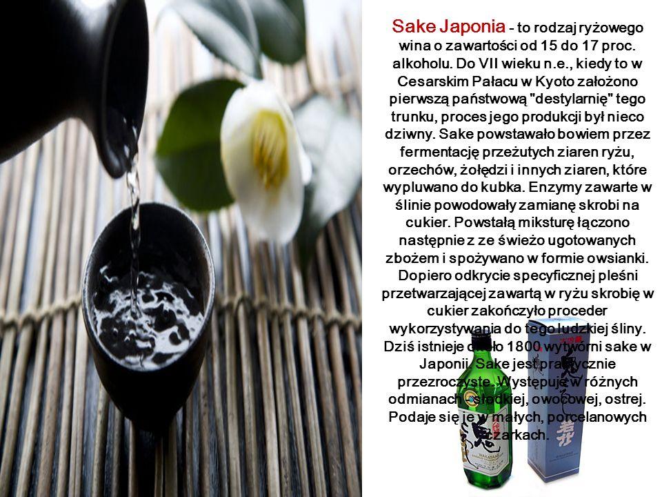 Sake Japonia - to rodzaj ryżowego wina o zawartości od 15 do 17 proc