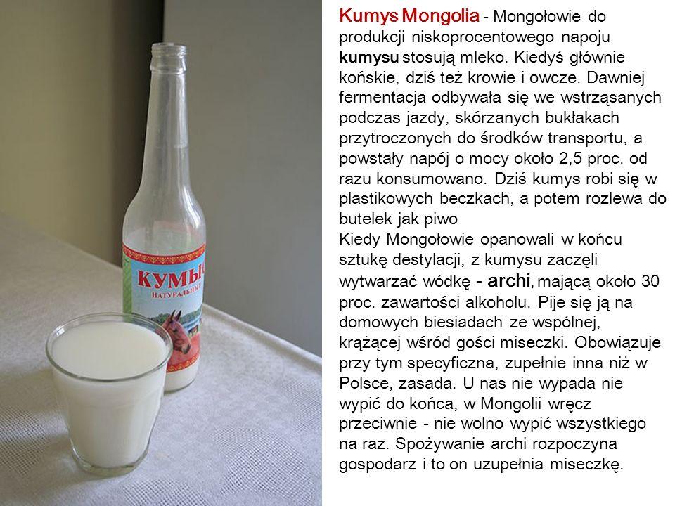 Kumys Mongolia - Mongołowie do produkcji niskoprocentowego napoju kumysu stosują mleko. Kiedyś głównie końskie, dziś też krowie i owcze. Dawniej fermentacja odbywała się we wstrząsanych podczas jazdy, skórzanych bukłakach przytroczonych do środków transportu, a powstały napój o mocy około 2,5 proc. od razu konsumowano. Dziś kumys robi się w plastikowych beczkach, a potem rozlewa do butelek jak piwo