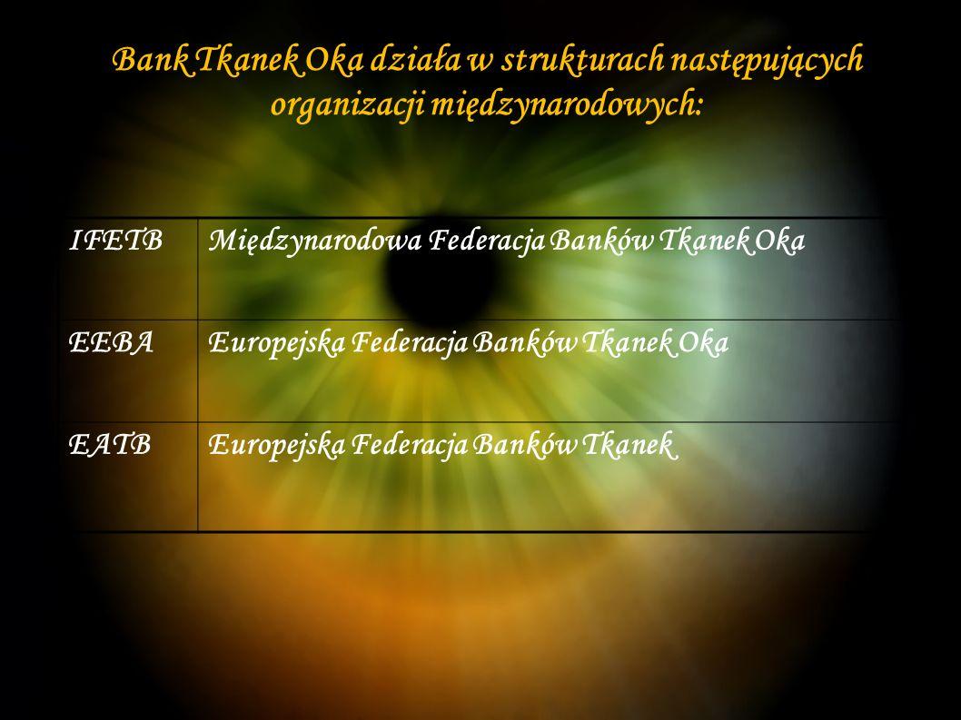 Bank Tkanek Oka działa w strukturach następujących organizacji międzynarodowych: