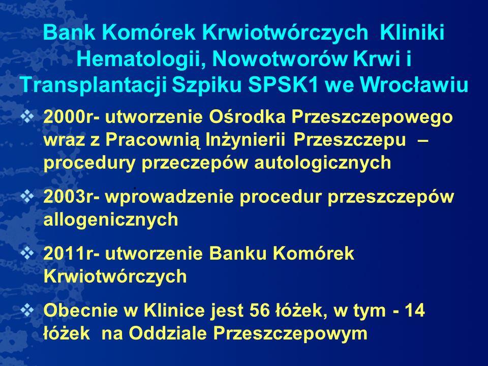 Bank Komórek Krwiotwórczych Kliniki Hematologii, Nowotworów Krwi i Transplantacji Szpiku SPSK1 we Wrocławiu